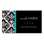 Black & White Damask, Aqua Teal Double-Sided Standard Business Cards (Pack Of 100)