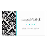 Black & White Damask Blue Business Card Templates