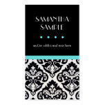 Black & White Damask Blue Double-Sided Standard Business Cards (Pack Of 100)
