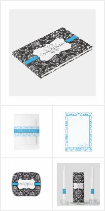 Black & White Damask Blue Stripe Frame Wedding