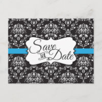 Black White Damask Blue Stripe Frame Wedding Announcement Postcard