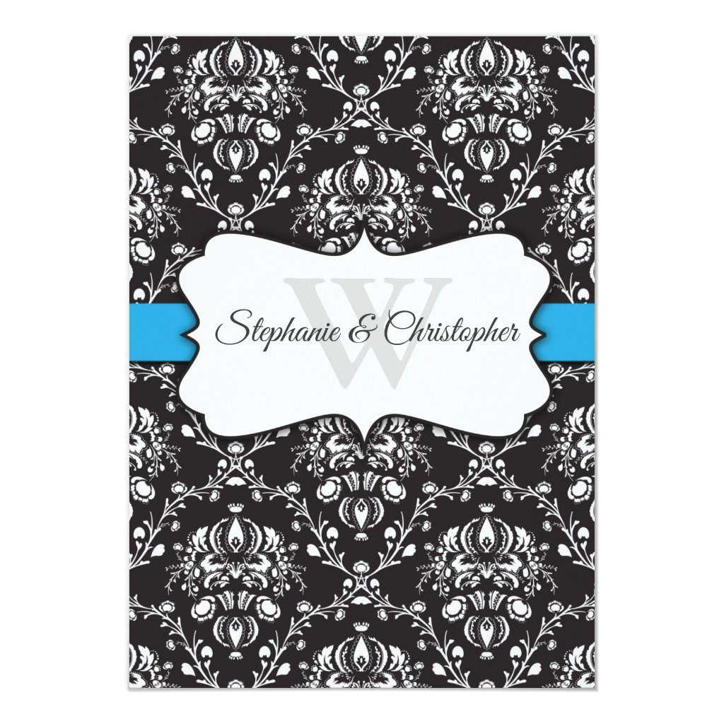 Black White Damask Blue Stripe Frame Wedding