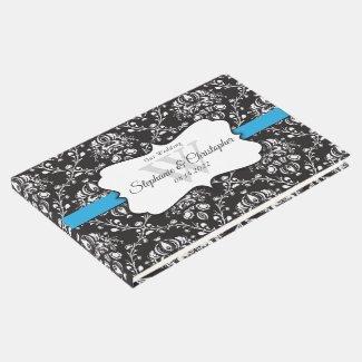 Black White Damask Blue Stripe Wedding Guest Book