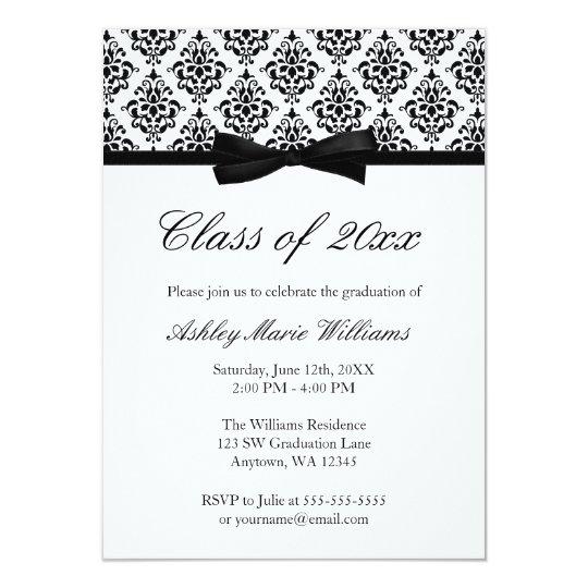 Black white damask bow graduation announcement zazzle black white damask bow graduation announcement filmwisefo Choice Image
