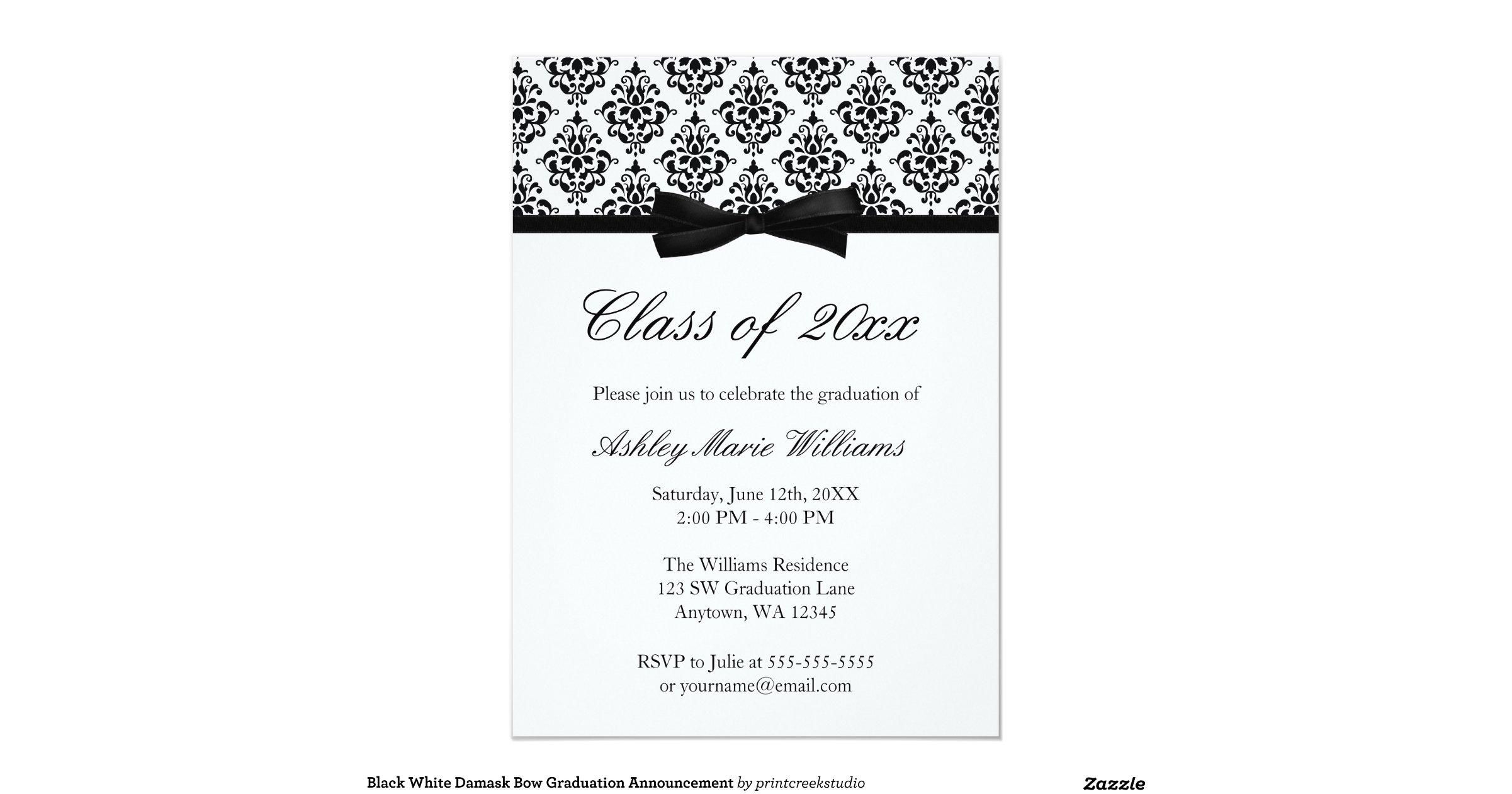 black_white_damask_bow_graduation_announcement