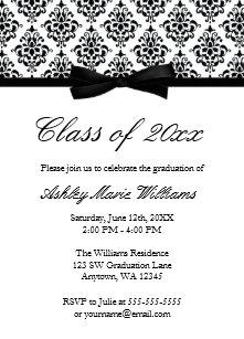 Black and white graduation invitations zazzle black white damask bow graduation announcement filmwisefo