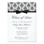 "Black White Damask Bow Graduation Announcement 5"" X 7"" Invitation Card"