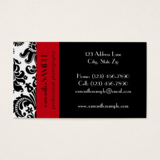 Black & White Damask Business Card