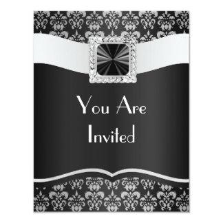 Black & white damask card