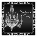 Black White Damask Chandelier Birthday Party Personalized Invites