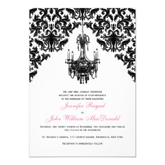 Black white chandelier damask wedding cards zazzle black white damask chandelier wedding invitation mozeypictures Image collections