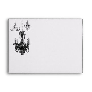 Black, White Damask Chandeliers A7 Envelope