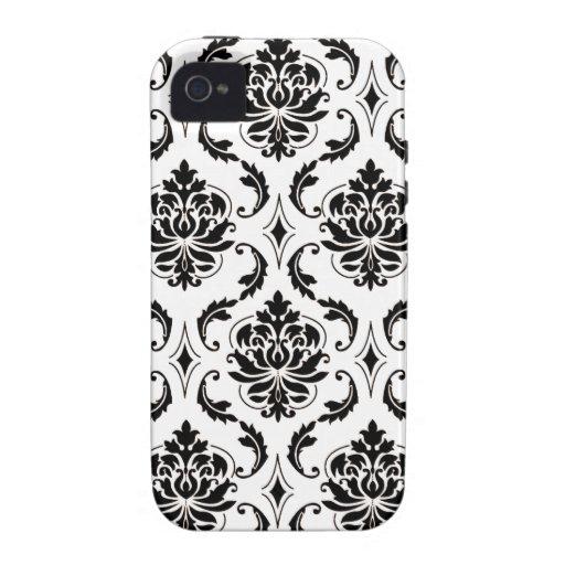 Black White Damask Chic iPhone 4 Case