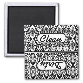 Black White Damask Clean Dirty Dishwasher Magnet