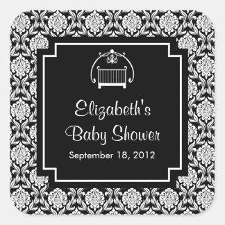 Black & White Damask Crib Baby Shower Square Square Sticker