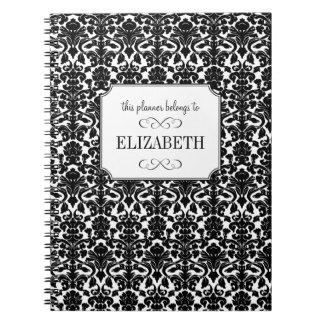 Black white damask custom wedding planner journal