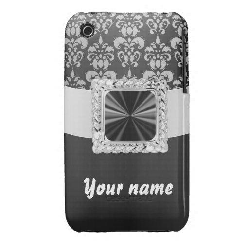Black & white damask customizable iPhone 3 Case-Mate cases