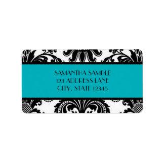 Black & White Damask, Deep Turquoise Label