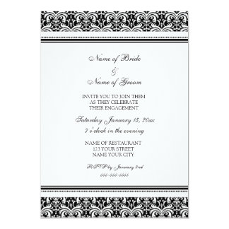 "Black White Damask Engagement Party Invitations 5"" X 7"" Invitation Card"