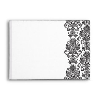 Black White Damask Envelope