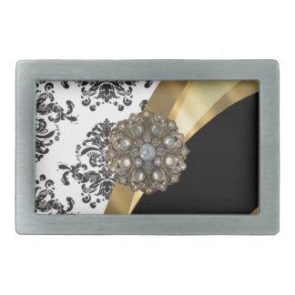 Black & white damask, faux jewel belt buckle
