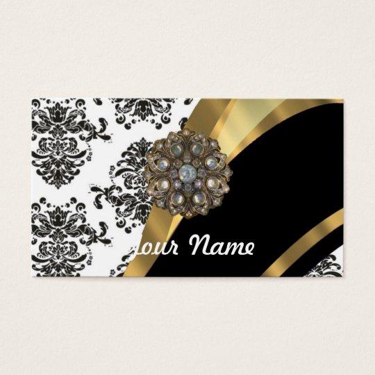 Black & white damask, faux jewel business card