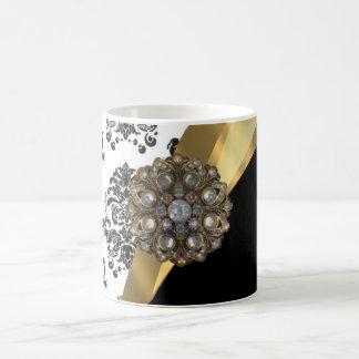 Black & white damask, faux jewel coffee mug