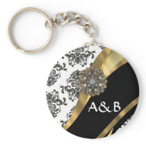 Black & white damask, faux jewel keychain