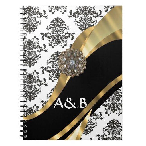 Black & white damask, faux jewel spiral notebooks