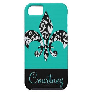 Black & White Damask Fleur de Lis with Blue iPhone 5 Covers