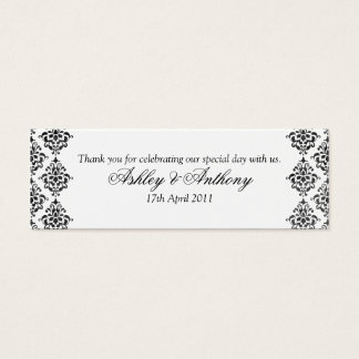 Black White Damask Floral Wedding Favour Tags