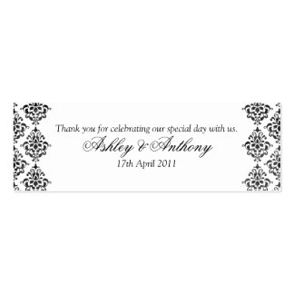 Black White Damask Floral Wedding Favour Tags Double-Sided Mini Business Cards (Pack Of 20)