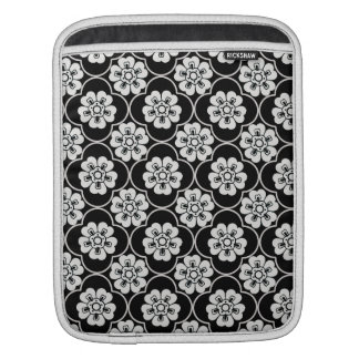 Black & White Damask Flowers Sleeves For iPads