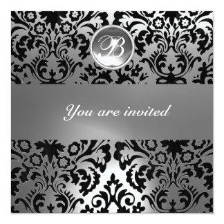 BLACK & WHITE DAMASK GEM STONE MONOGRAMcrystal 5.25x5.25 Square Paper Invitation Card