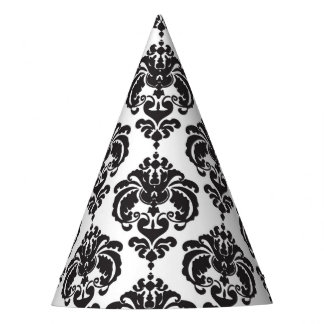 Black White Damask Glamour Girl Birthday Party Party Hat