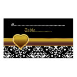 Black white damask gold heart wedding place card business card template