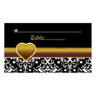 Black white damask gold heart wedding place card Double-Sided standard business cards (Pack of 100)