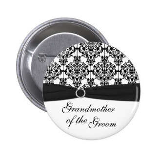 Black White Damask Grandmother of the Groom Pin