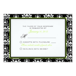 Black & White Damask Green Accent RSVP Custom Card