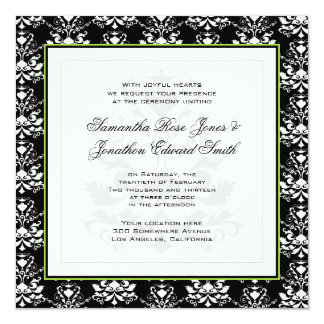 Black & White Damask Green Accent Wedding Invite