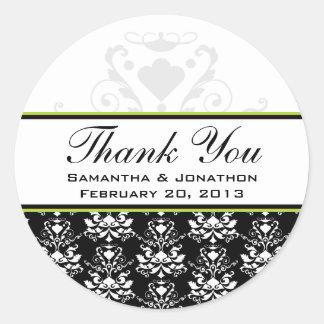 Black & White Damask Green Accent Wedding Labels