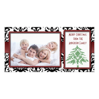 Black & White Damask Green Damask Tree Photo Cards
