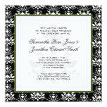 """Black & White Damask Green Photo Wedding Invite 5.25"""" Square Invitation Card"""