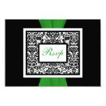 Black White Damask Green PRINTED RIBBON RSVP 3.5x5 Paper Invitation Card