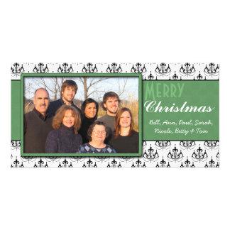 Black & White Damask Green Trim Merry Christmas Card