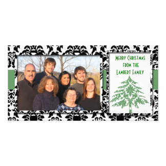 Black & White Damask GreenTree Merry Christmas Card