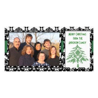 Black & White Damask GreenTree Merry Christmas Card