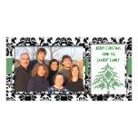 Black & White Damask GreenTree Merry Christmas Photo Cards