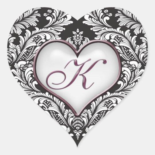 Black White Damask Heart Monogram Letter K Sticker Zazzle Com