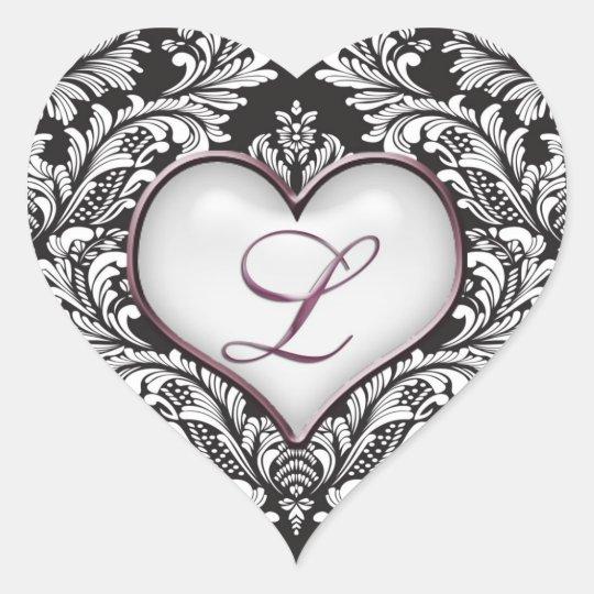 Black White Damask Heart Monogram Letter L Sticker